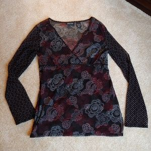 New York & co sheer floral business casual top